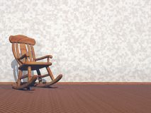 Wooden armchair - 3D render Royalty Free Stock Image