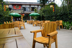 Wooden armchair in countryside courtyard Stock Photo