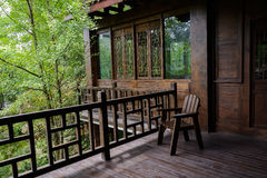 Wooden chair on planked second floor,China Royalty Free Stock Photos