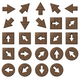 Wooden arrow buttons. Square and circle royalty free illustration