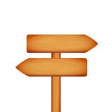 Wooden arrow sign of direction on white background. Vector illustration of banner Stock Photography