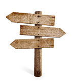 Wooden arrow sign post or road signpost isolated. On white stock photos