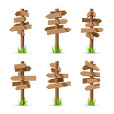 Wooden arrow signboards blank vector set Royalty Free Stock Photography