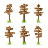 Wooden arrow signboards direction vector set Stock Photo