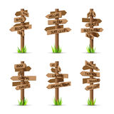 Wooden arrow signboards resort vector set Royalty Free Stock Photo