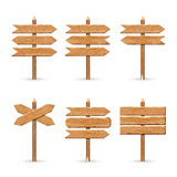 Wooden arrow signs board set. Vector wood signboards plank road Royalty Free Stock Photos