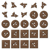 Wooden arrow straght and turnleft buttons. Square and circle Stock Illustration