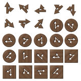 Wooden arrow straght and turnright buttons. Square and circle stock illustration
