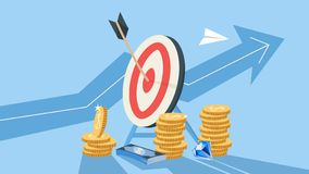 Wooden arrow on a target as a metaphor of achievement vector illustration