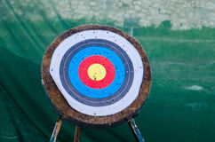 Wooden Arrow target Royalty Free Stock Image