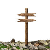 Wooden arrows road sign Royalty Free Stock Photo