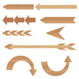 Wooden arrows set vector illustration isolated on white background Stock Photo