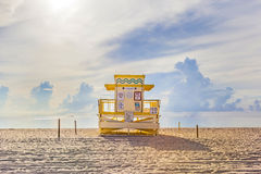 Wooden Art Deco Baywatch Huts at the l beach Royalty Free Stock Image