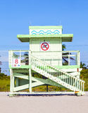 Wooden Art Deco Baywatch Huts in Miami Florida Royalty Free Stock Image