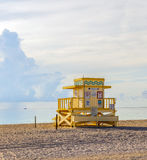 Wooden Art Deco Baywatch Huts in Miami Florida Royalty Free Stock Photo
