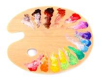 Wooden art palette Stock Photos
