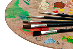 Wooden art palette. Royalty Free Stock Image