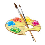 Wooden art palette with brushes and paints vector illustration Royalty Free Stock Images