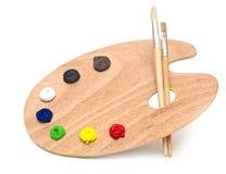 Wooden art palette Stock Image