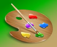 Wooden art palette with paints and brush. Vector Stock Photo
