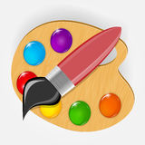 Wooden art palette with paints and brushe icon Royalty Free Stock Images