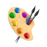 Wooden art palette with paints and brushes Royalty Free Stock Photo