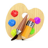 Wooden art palette with tools Royalty Free Stock Photography