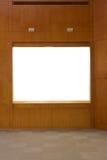 Wooden art showcase stock photos