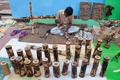 Wooden Art work , Indian handicrafts fair at Kolkata Stock Photos