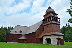 Wooden articular church. In svaty kriz, slovakia, one of the biggest in europe Royalty Free Stock Photography