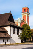 Wooden articular and New red church in Kezmarok, Slovakia Stock Photos