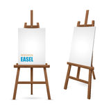 Wooden Artist Easel. With clean canvas isolated on white background vector illustration Royalty Free Stock Photography