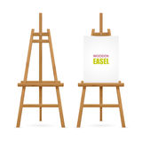 Wooden Artist Easel Set. With and without canvas isolated on white background vector illustration stock illustration