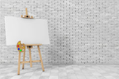 Wooden Artist Easel with White Mock Up Canvas and Palette. 3d Re. Wooden Artist Easel with White Mock Up Canvas and Palette in front of brick wall. 3d Rendering Stock Photography