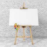 Wooden Artist Easel with White Mock Up Canvas and Palette. 3d Re. Wooden Artist Easel with White Mock Up Canvas and Palette in front of brick wall. 3d Rendering Royalty Free Stock Image