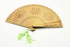 Wooden asian fan isolated  white background Royalty Free Stock Image