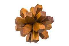 Wooden assembled flower shaped puzzle game Royalty Free Stock Photos