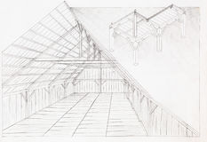 Wooden attic, architectural sketch Royalty Free Stock Photo