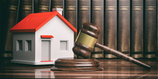 Wooden auction or judge gavel, a small house and books. 3d illustration Stock Image