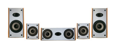 Wooden audio speakers Stock Photos