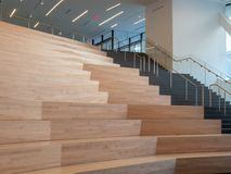 Wooden auditorium steps in a modern stage area stock photos