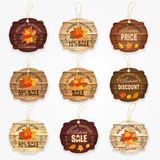 Wooden autumn sale labels and badges collection with autumn leaves - best price, big autumn sale, special offer. Discount. Vector illustration Stock Image