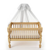 Wooden baby crib with canopy isolated on white background Royalty Free Stock Photography