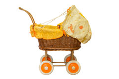 Wooden baby stroller Royalty Free Stock Photography