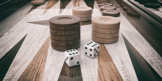 Wooden backgammon board. 3d illustration Stock Photography