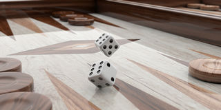 Wooden backgammon board. 3d illustration Royalty Free Stock Photo