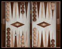 Wooden backgammon board. 3d illustration Stock Photos
