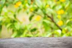Wooden background against the backdrop of bright yellow-green flowers. Little depth field, blurring, film effect. Light-gray wooden background against the Stock Photography