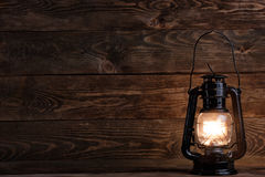Wooden Background And Gas Lamp