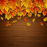 Wooden background with autumn leaves falling. Illustration of Wooden background with autumn leaves falling Royalty Free Stock Photo